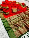 Red color soft banarasi silk saree with zari woven work