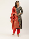 Navy blue and red color zari weaving dress material