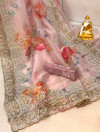 Pink organza silk saree with embroidery work