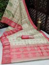 Gajari color banarasi art silk saree with satin woven border