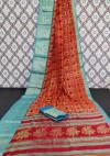 Orange color soft cotton silk saree with jacquard weaving border