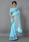 Sky blue color manipuri silk saree with printed and weaving work