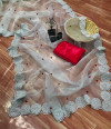 Gray color organza silk saree with embroidery sequence work