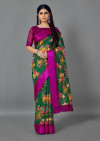 Green color linen satin saree with printed work