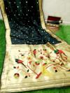 Black color banarasi soft silk paithani saree with zari border & exclusive zari pallu