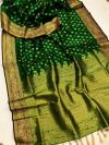 Green color banarasi silk saree with weaving work