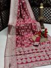 Pink color banarasi silk saree with silver zari weaving work