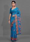 Firoji color soft cotton silk saree with printed work