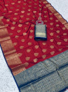Maroon color soft silk saree with weaving work