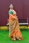 Orange color patola silk saree with jequard weaving work