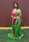 Green and pink color bandhej silk saree with zari weaving work