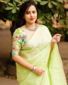 Pista green color dola silk saree with mirror work & aari brorder