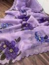 Purple color organza saree with digital print & handwork