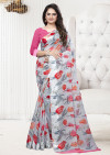Gray color linen satin saree with satin patta