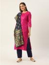 Pink and navy blue color zari woven silk blend dress material