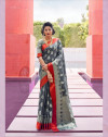 Gray color soft silk saree with weaving work