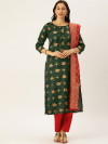 Green & red color silk blend dress material