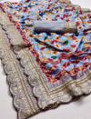 Light blue color pure kumari silk saree with digital printed work