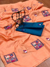 Peach color dola silk saree with embroidery work