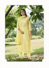 Yellow color cotton with sequence embroidered work dress material