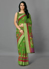 Parrot green color soft cotton silk saree with printed work