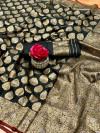 Black kanchipuram silk handloom saree with zari work