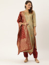Beige & maroon color jacquard weaving dress material