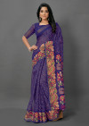 Navy blue color soft cotton silk saree with printed work