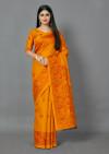 Mustard yellow color jute silk saree with printed work