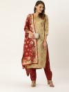 Beige & maroon color zari weaving jacquard dress material