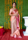 Peach color kanchi silk saree with zari work