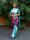 Firoji and magenta color bandhej silk saree with zari weaving work