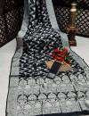 Black color banarasi silk saree with silver zari weaving work