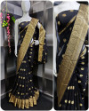 Black color georgette saree with weaving work