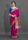 Rani pink color cotton silk saree with weaving work