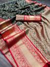 Black color kanchipuram silk saree with zari woven work