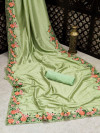 Pista green color malai silk saree with embroidery work