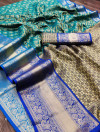 Rama green color kanchipuram silk saree with zari woven work