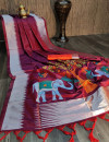 Magenta color soft raw silk saree with woven work