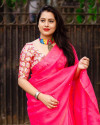Pink color dola silk saree with mirror work & aari brorder