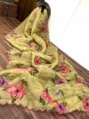 Yellow color organza saree with digital print & handwork