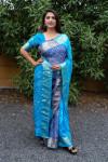 Sky blue color bandhej silk saree with zari weaving work