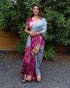 Gray and Magenta color bandhej silk saree with zari weaving work