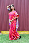 Pink color patola silk saree with weaving work