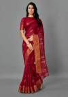 Red color soft cotton silk saree with printed work