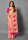 Peach and yellow color soft linen cotton saree with zari border
