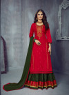 Red color jam silk cotton dress material