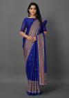 Blue color jute silk saree with printed work