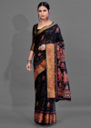 Black color soft cotton silk saree with printed work