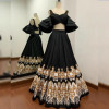 Black color taffeta silk lehenga with heavy digital print